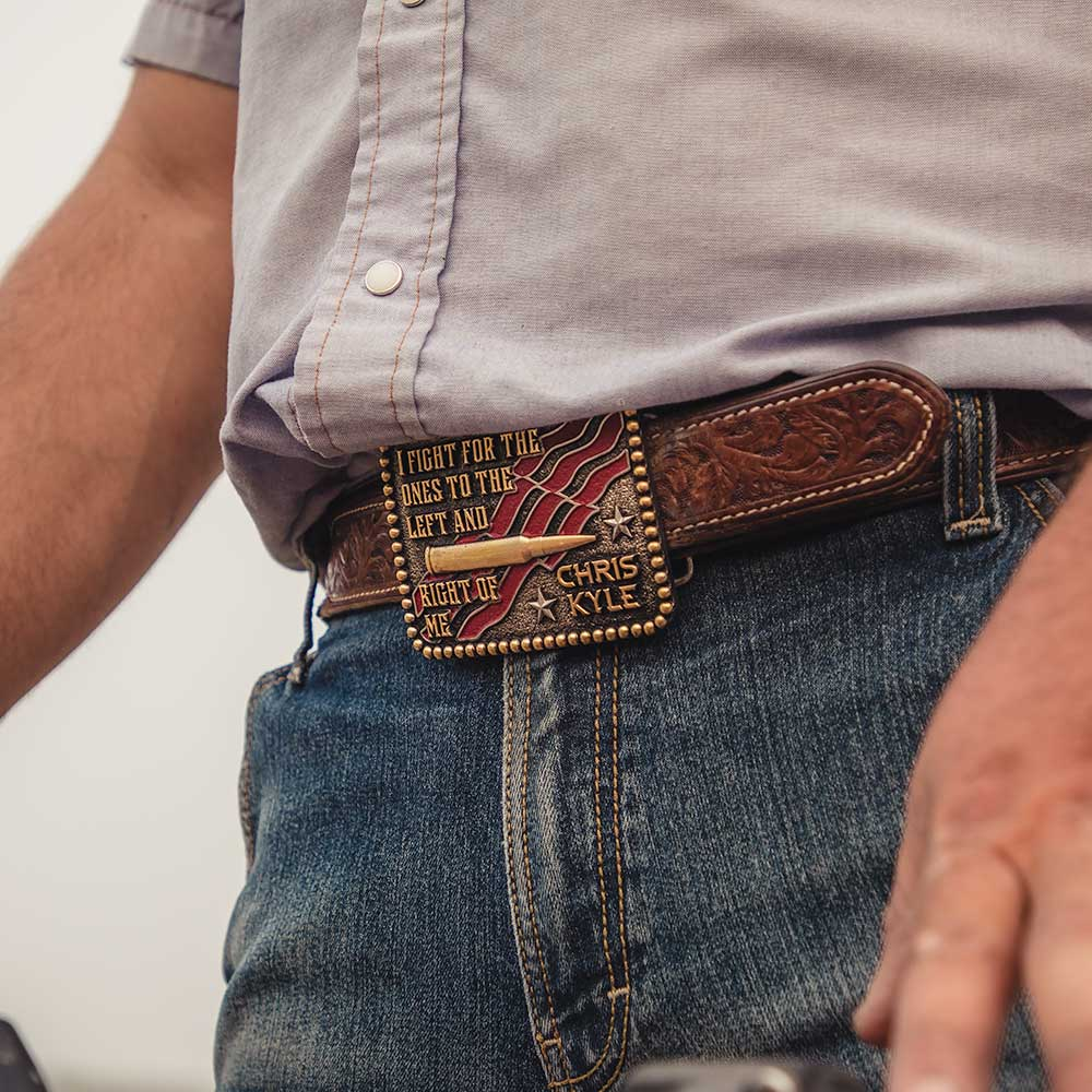 To the Left and Right of Me Attitude Belt Buckle