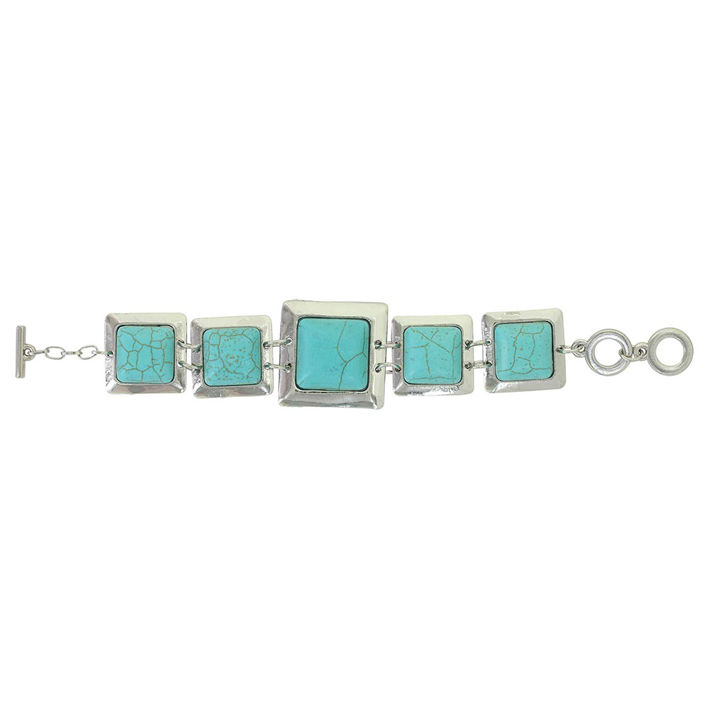 Squared Turquoise Link Bracelet Attitude Jewelry