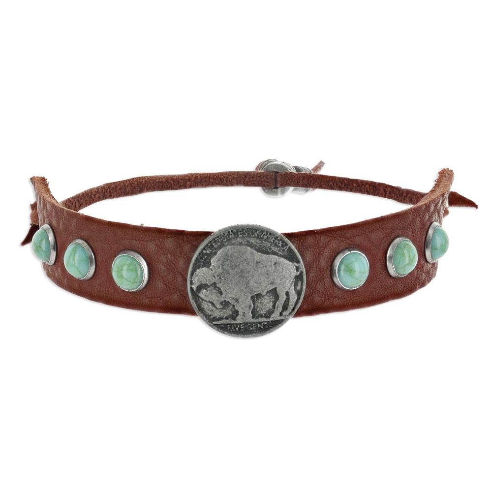 Grounded Bison Leather Attitude Bracelet