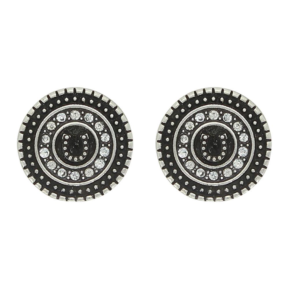 Haloed Horseshoe Post Earrings Attitude Jewelry