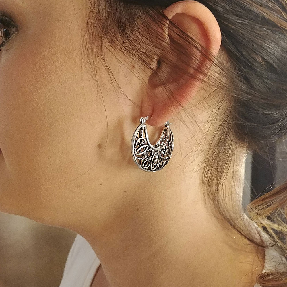 Southwestern Rope Filigree Hoop Earrings Attitude Jewelry