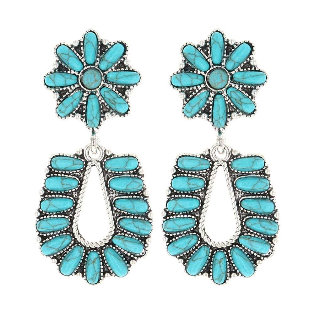 Starred Horseshoe Turquoise Attitude Earrings
