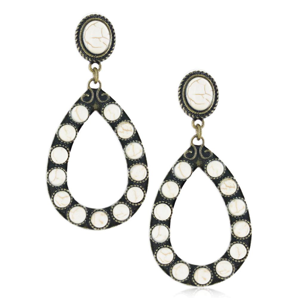 Vintage Mineral Stone Attitude Earrings