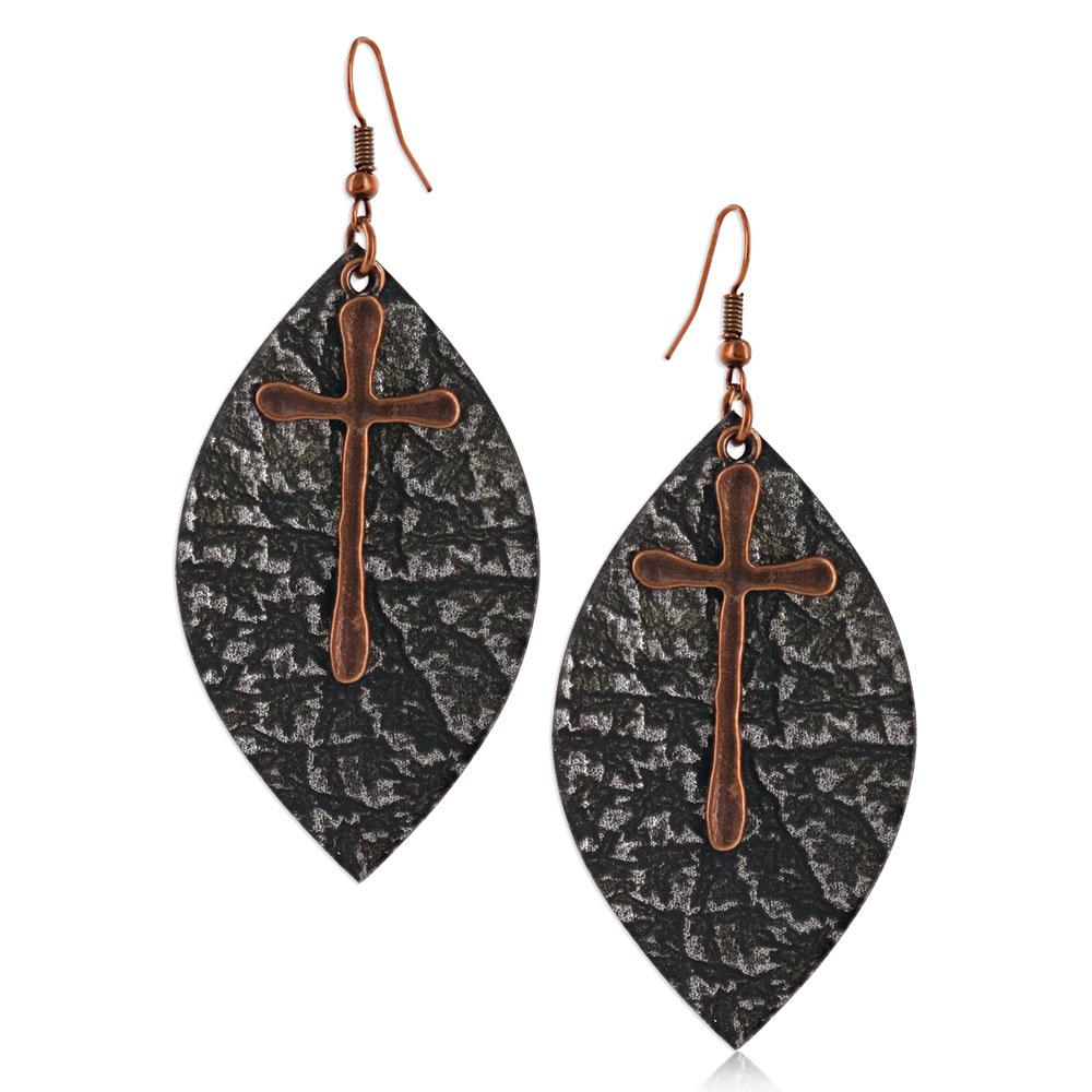 Natured Crosses Soft Leather Attitude Earrings