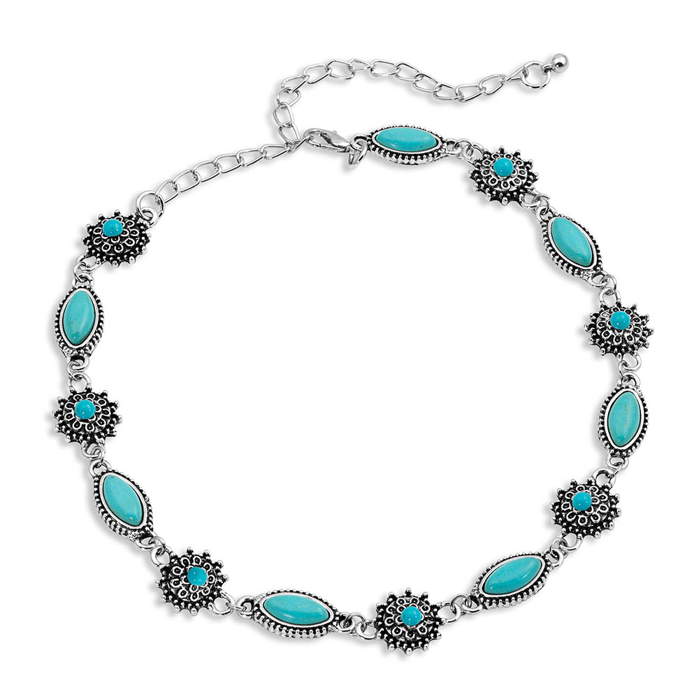 Turquoise Filigree Choker Necklace Attitude Jewelry