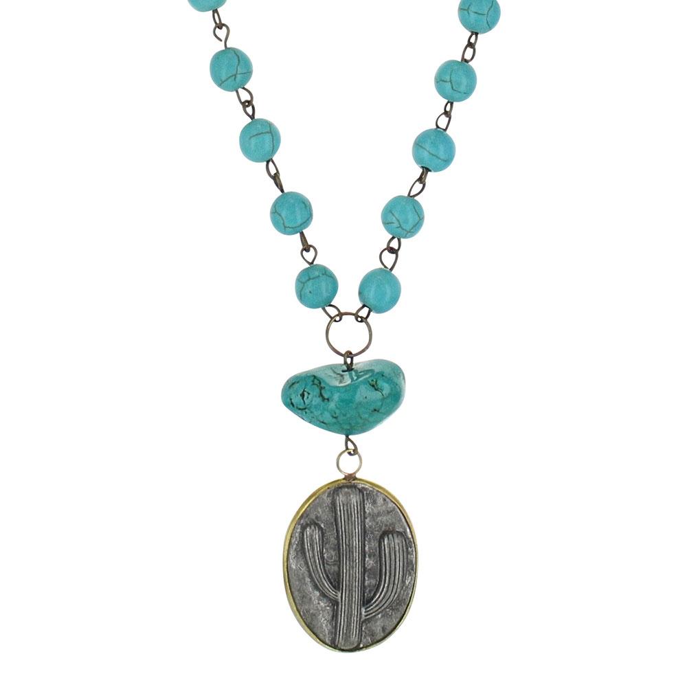 Antiqued Cactus Disc Attitude Necklace