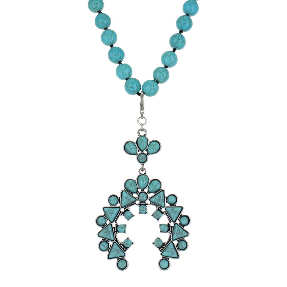 Turquoise Blue Squash Blossom Attitude Necklace