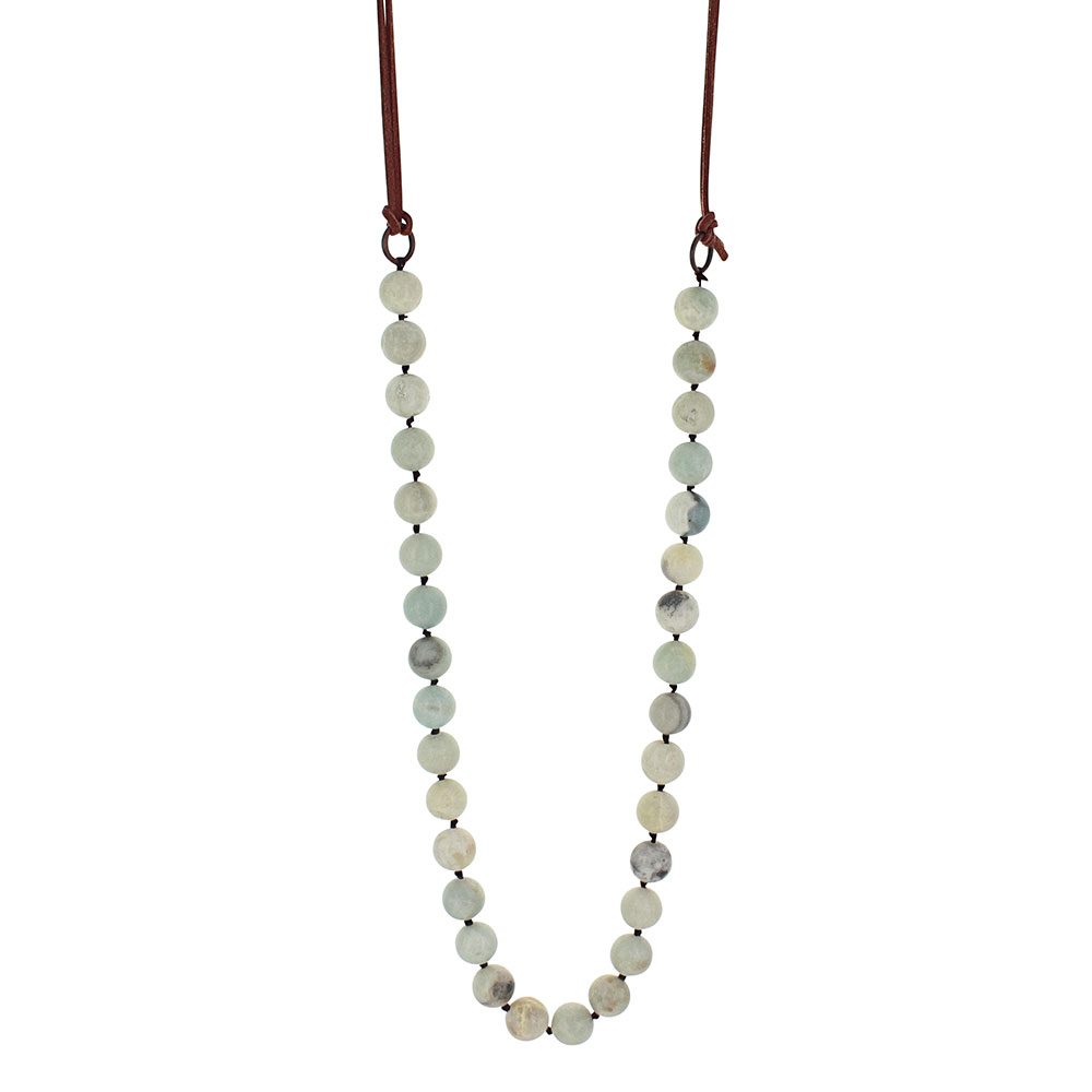 Turquoise Marble Beaded Strand Attitude Necklace