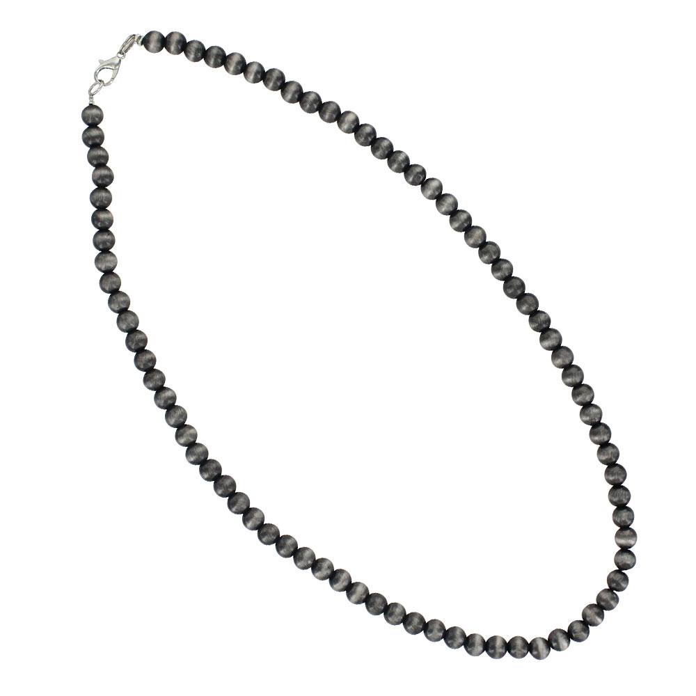 Midnight Silver Beaded Strand Attitude Necklace
