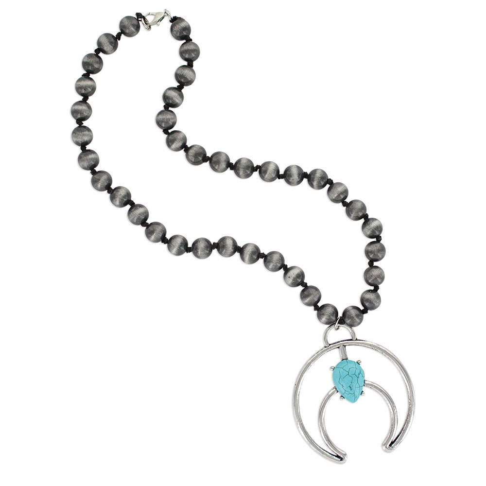 Teardrop Crescent Silver Attitude Necklace