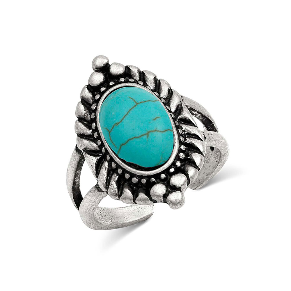 Classic Oval Turquoise Ring Attitude Jewelry