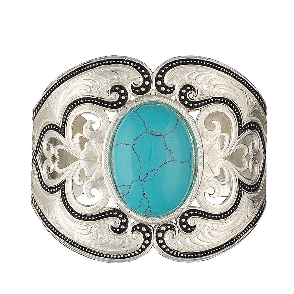 Silver Pinpoints  and Western Lace Cuff Bracelet with Turquoise