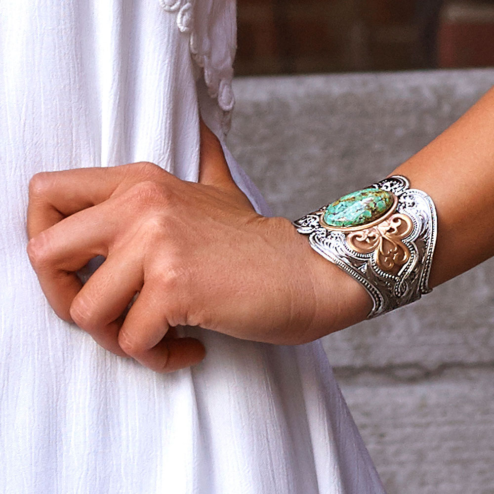 Curio Finish Western Lace Turquoise Cuff Bracelet