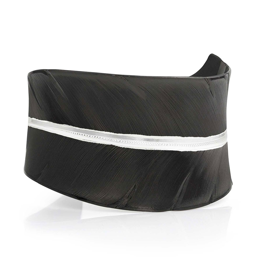 Moonlit Melody Black Feather Cuff Bracelet