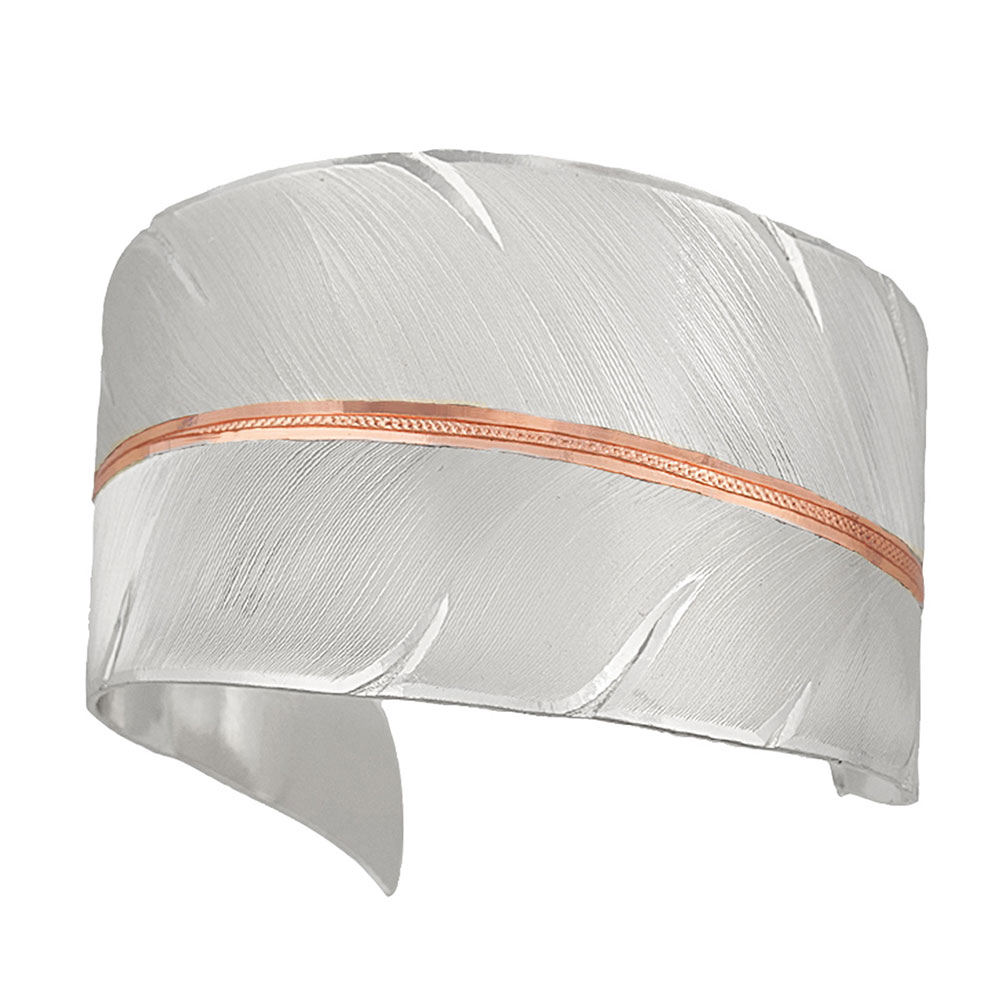 Two Tone Copper To Fly with Strength and Grace Feather Cuff Bracelet