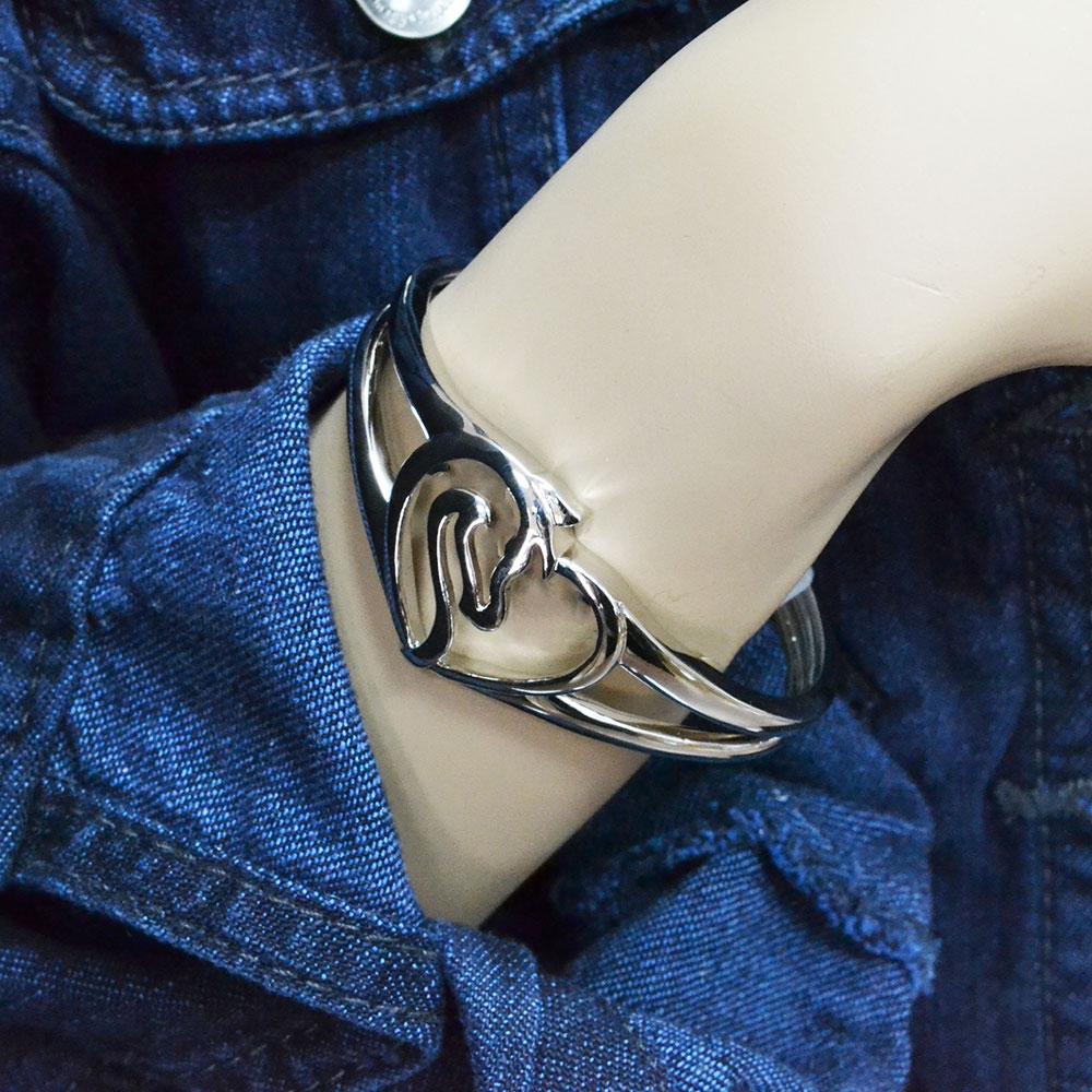 Equestrian Heart Cuff Bracelet