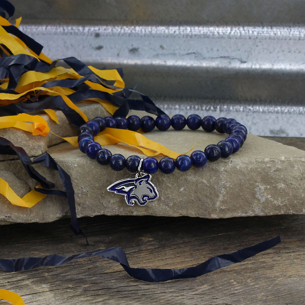 Beaded Bobcat Blue Stretch Bracelet