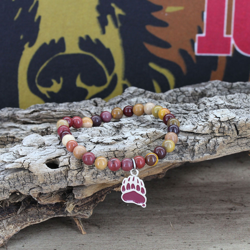 Beaded Griz Gold and Maroon Stretch Bracelet