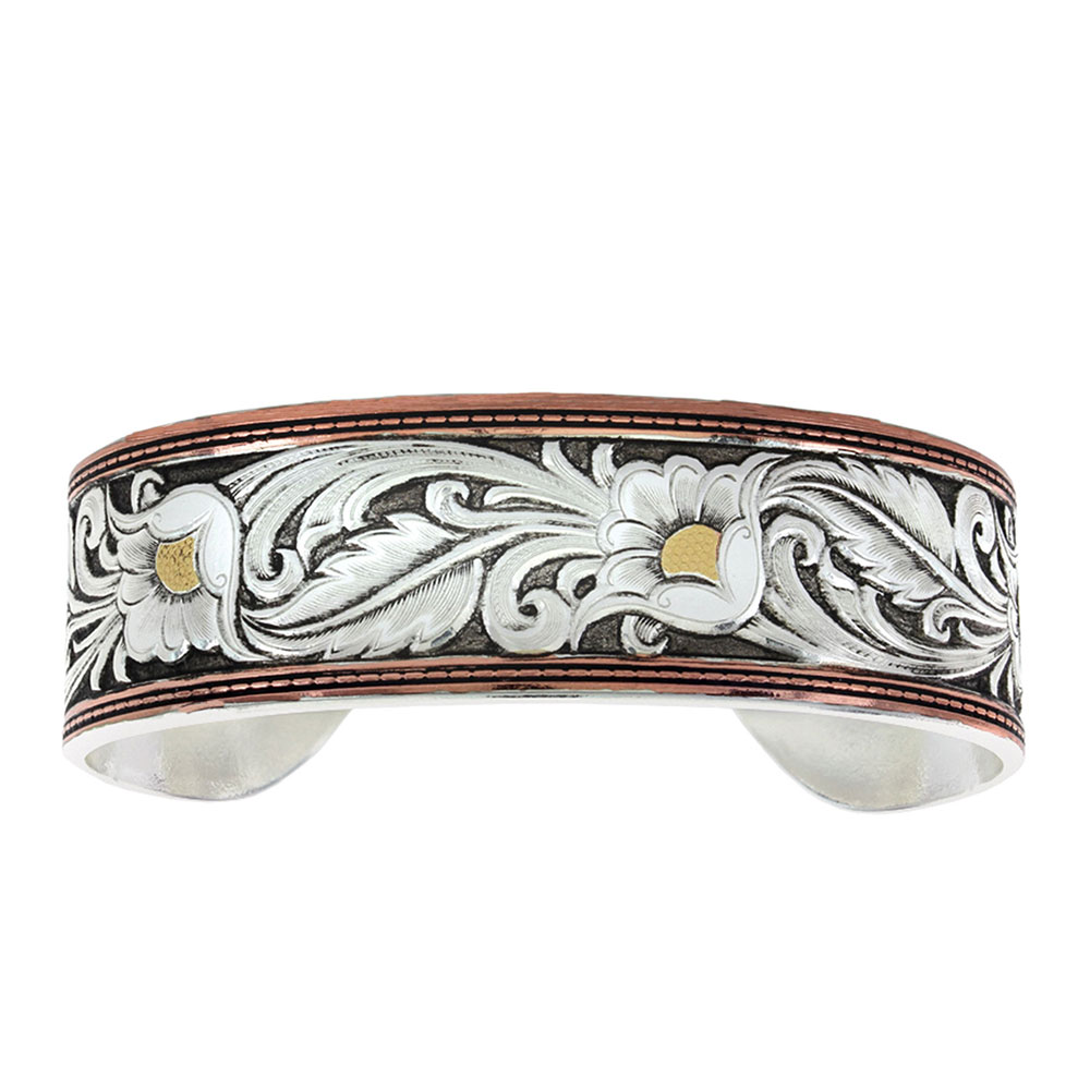 LeatherCut Tri-Colored Floral Cuff Bracelet