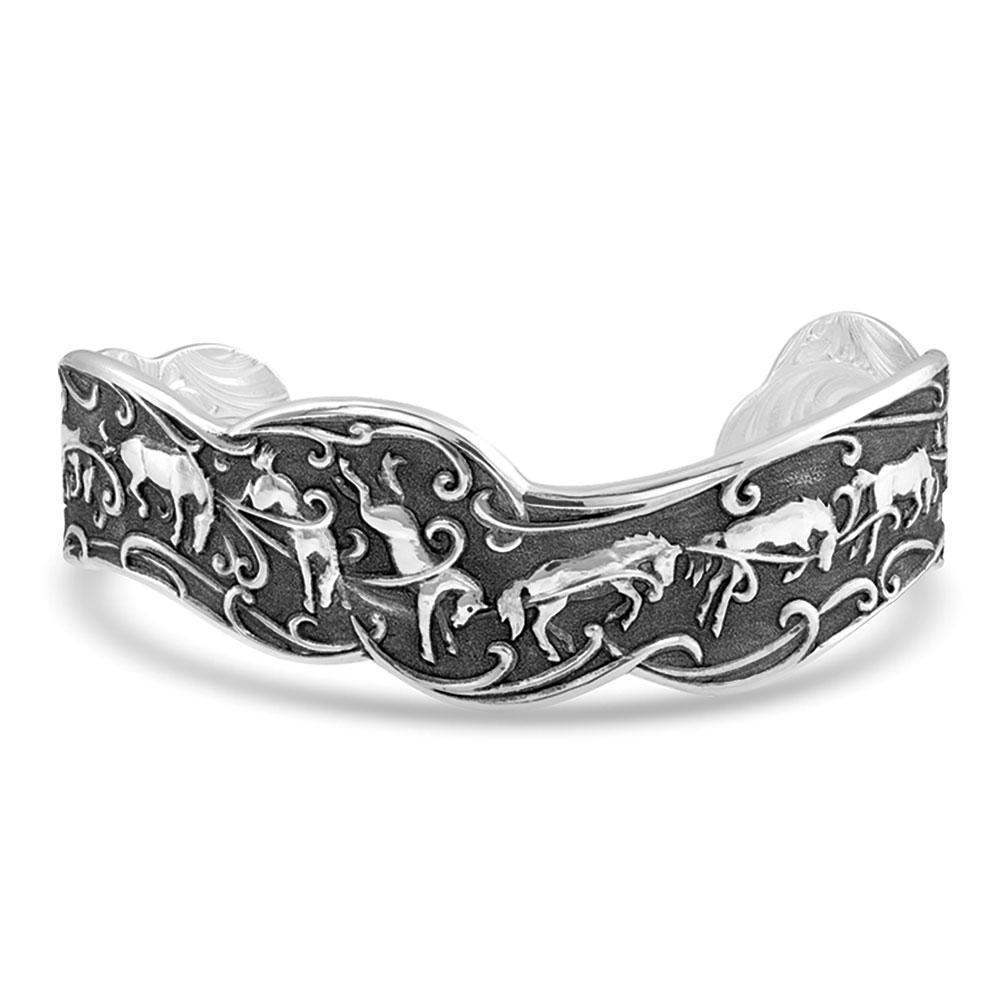 Antiqued Kick Up Your Heels Horse Cuff Bracelet