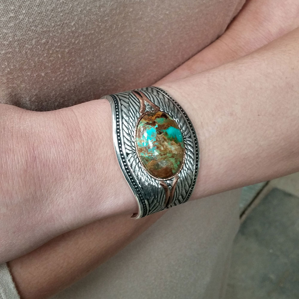 Feathered Turquoise Flight Cuff Bracelet