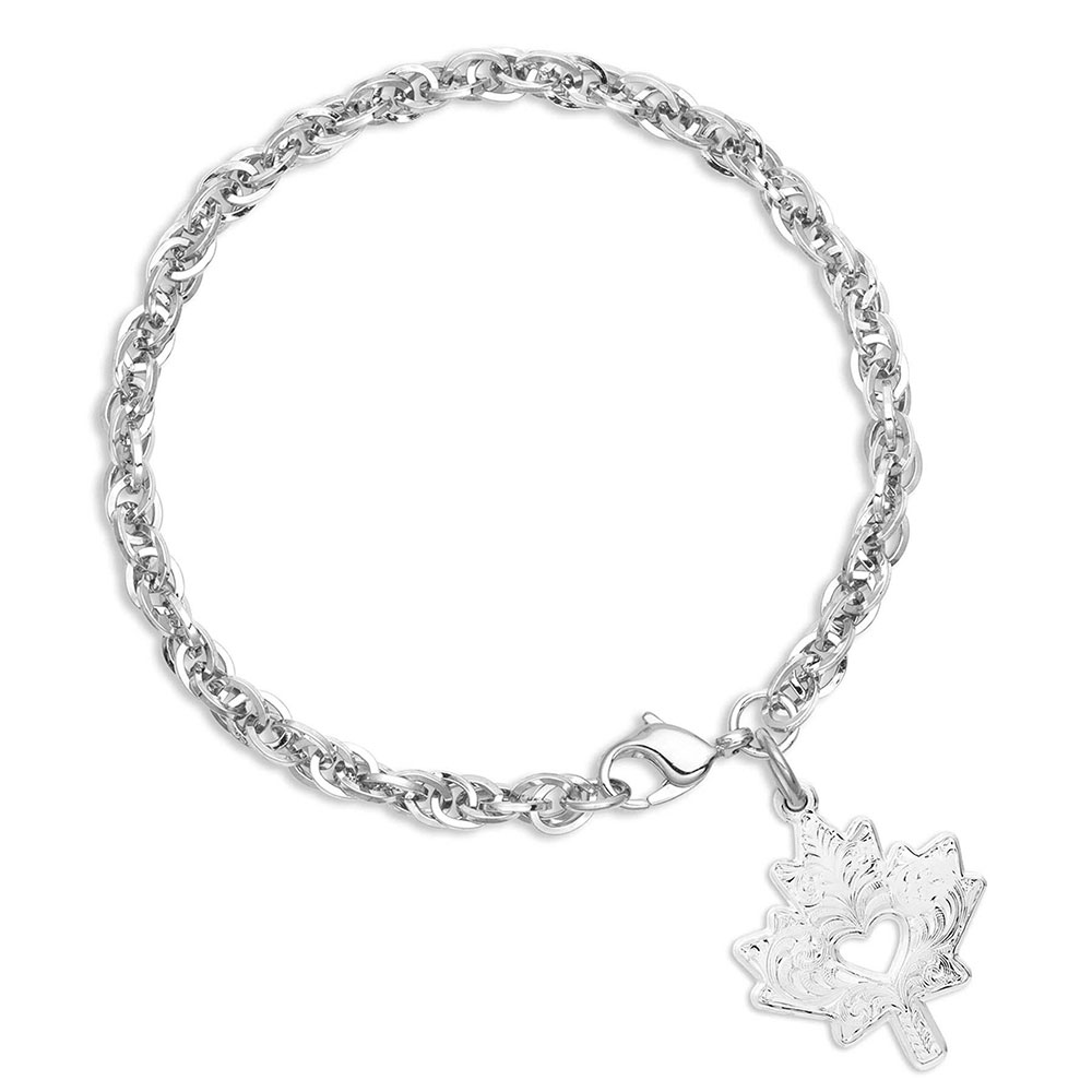 I Heart Canada Maple Leaf Charm Bracelet