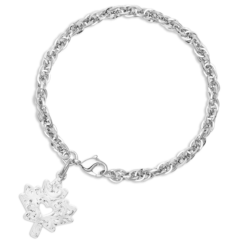 I Heart Canada Maple Leaf Charm Bracelet