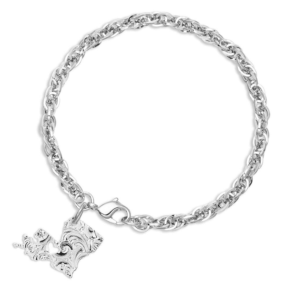 I Heart Louisiana State Charm Bracelet
