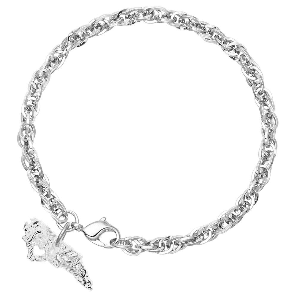 I Heart North Carolina State Charm Bracelet