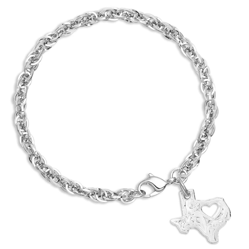 I Heart Texas State Charm Bracelet