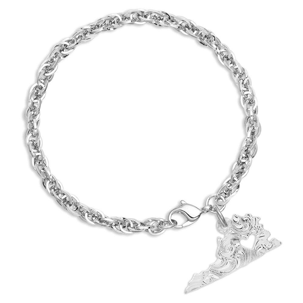 I Heart Virginia State Charm Bracelet