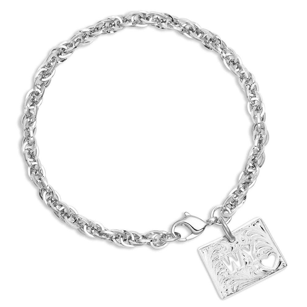 I Heart Wyoming State Charm Bracelet