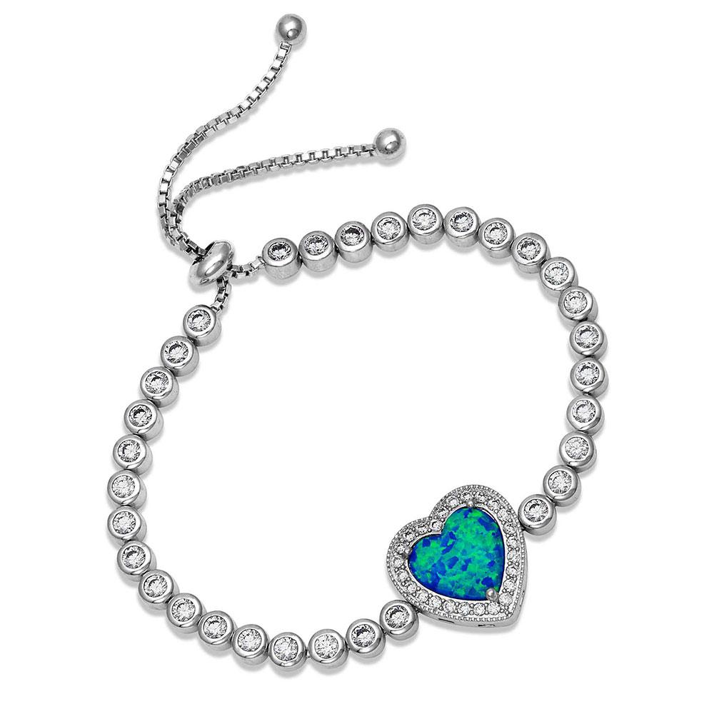 River of Lights Heart Stone Bolo Bracelet