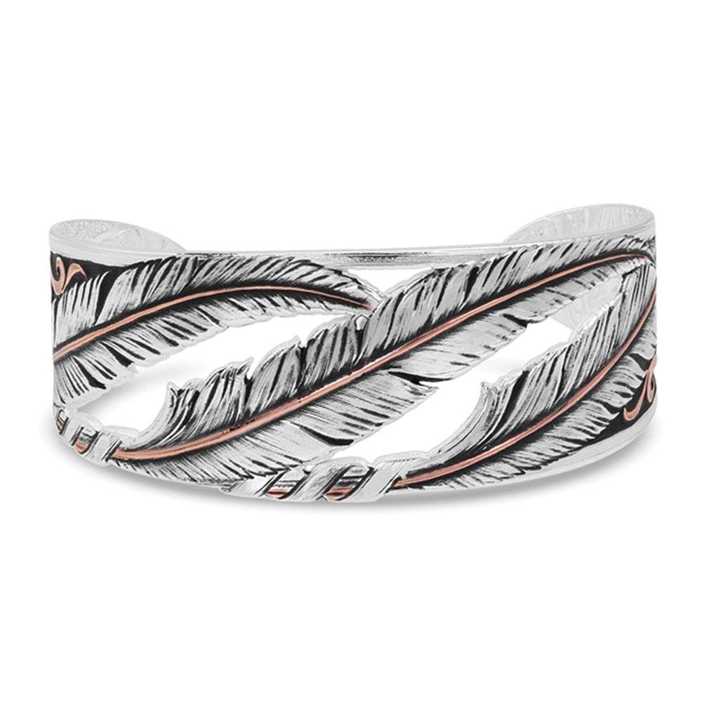 Wind Dancer Pierced Feather Cuff Bracelet