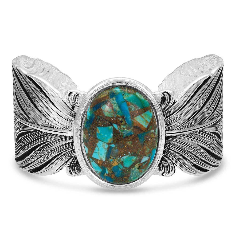 Santa Fe Ruffled Feather Turquoise Bracelet