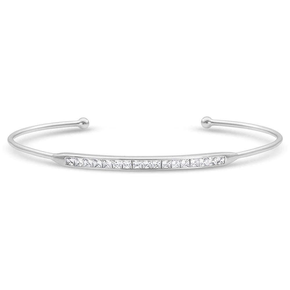 Minimal Clear Stone Bar Cuff Bracelet