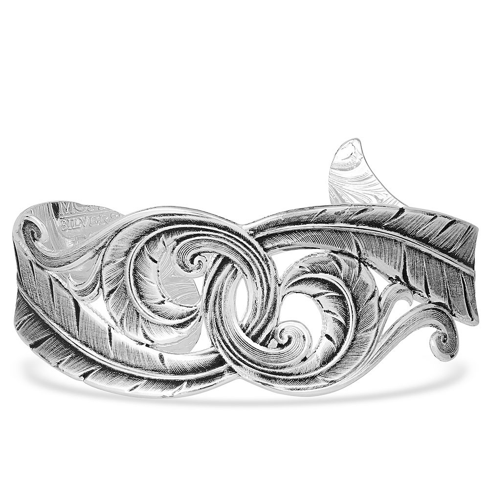 Connected Feathered Filigree Cuff Bracelet