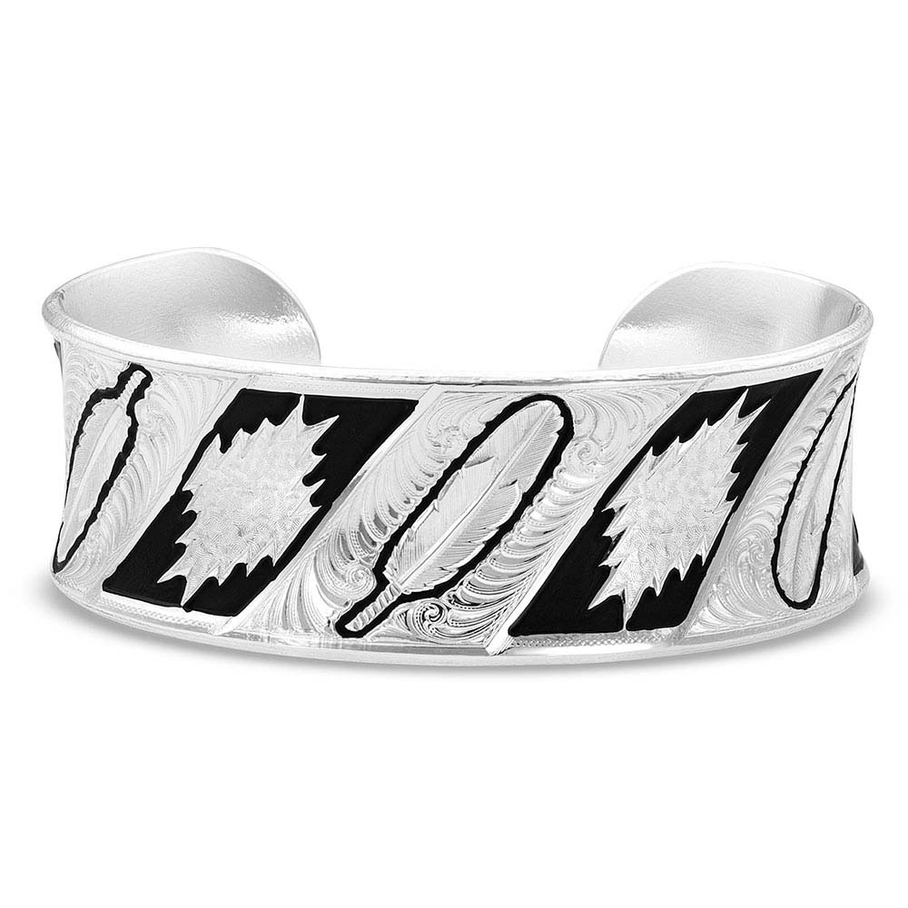 Be Fearless Feather Pattern Cuff Bracelet