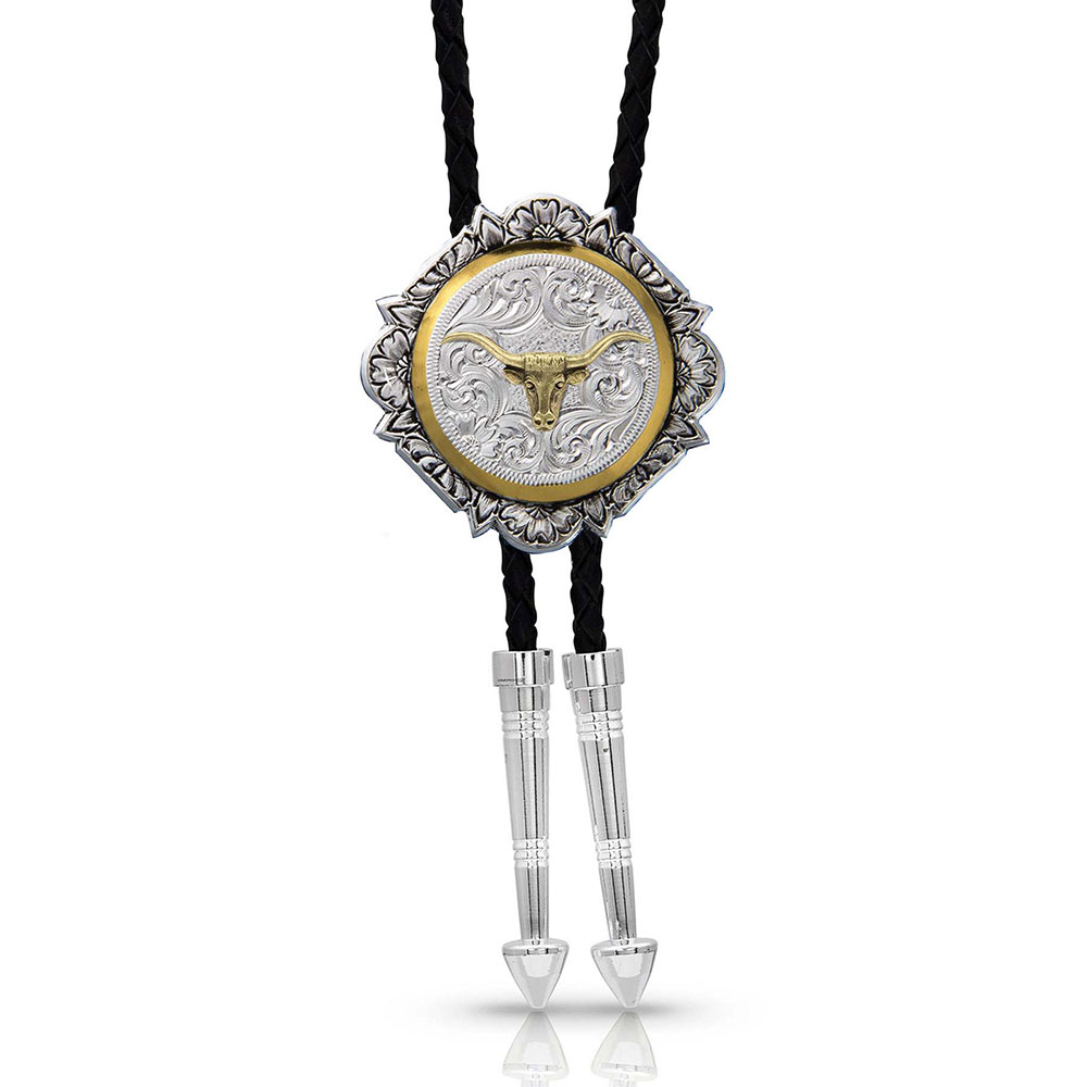 Silver and Gold Engraved Button Bolo Tie