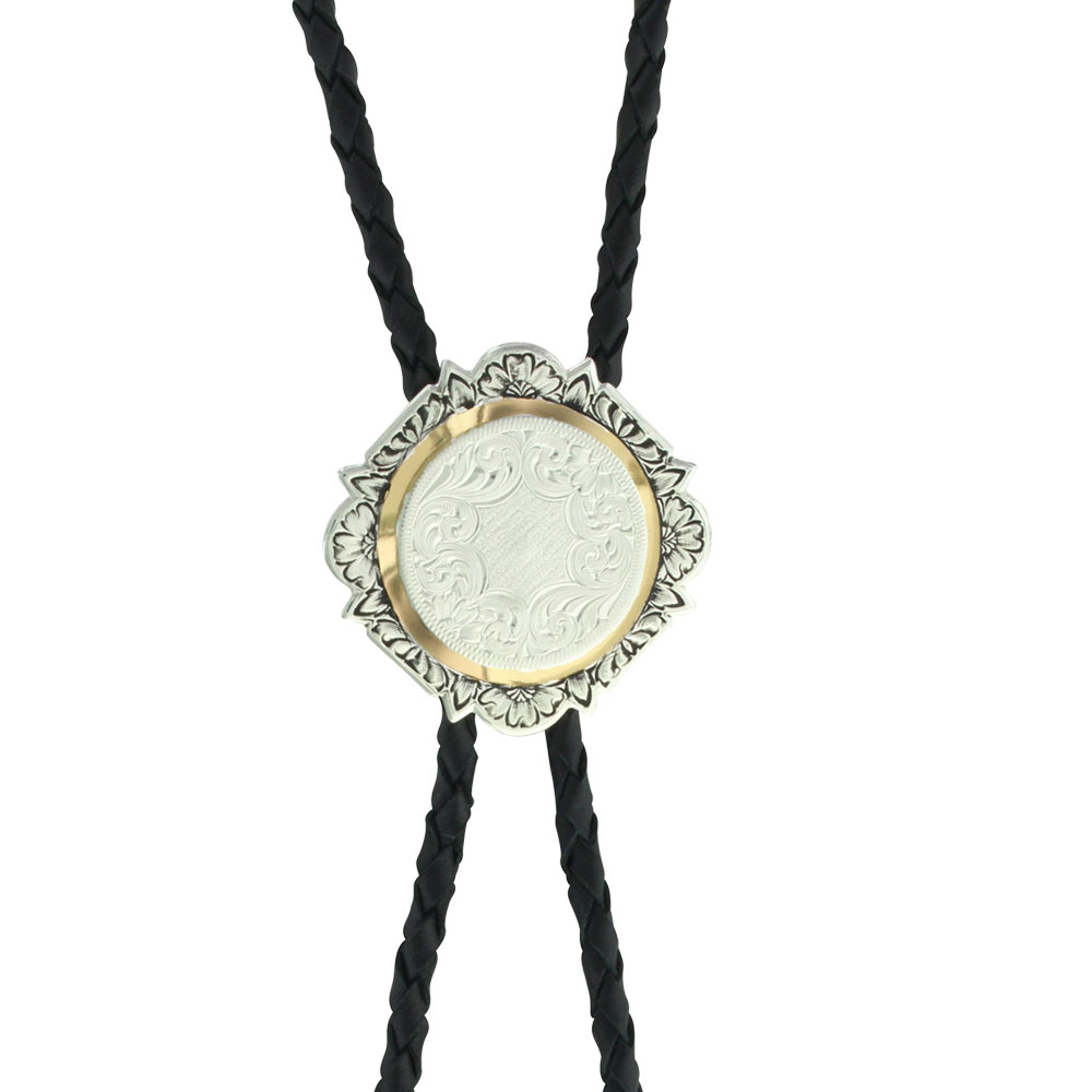 Custom Silver and Gold Engraved Bolo Tie (1.75