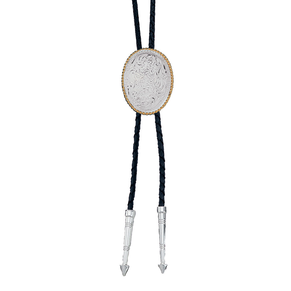 Engraved Silver Bolo Tie