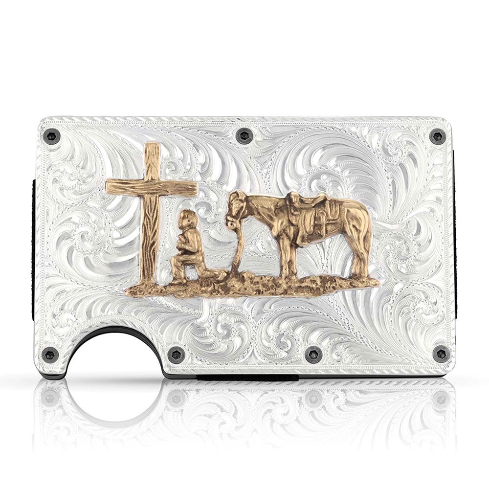 Montana Credit Card & Cash Case with Praying Cowboy