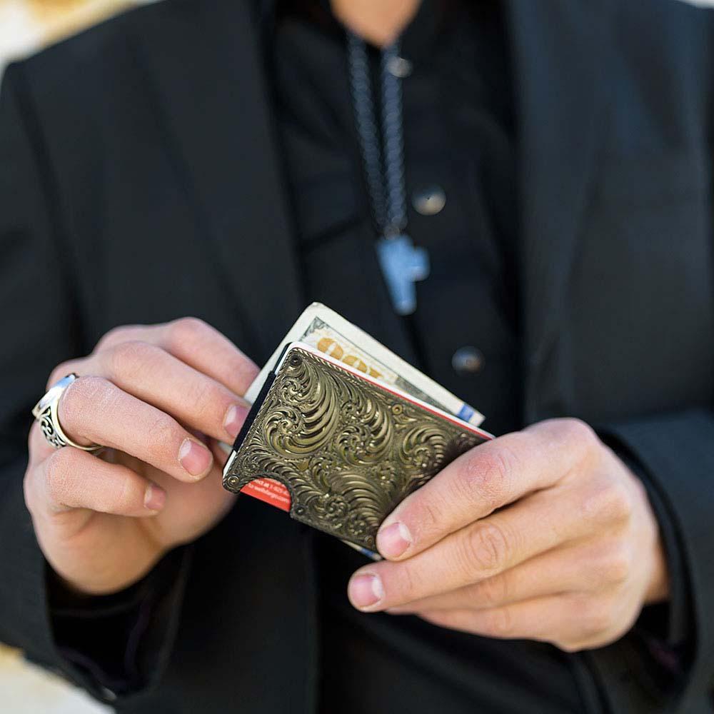 Custom Gunmetal Montana Credit Card & Cash Case