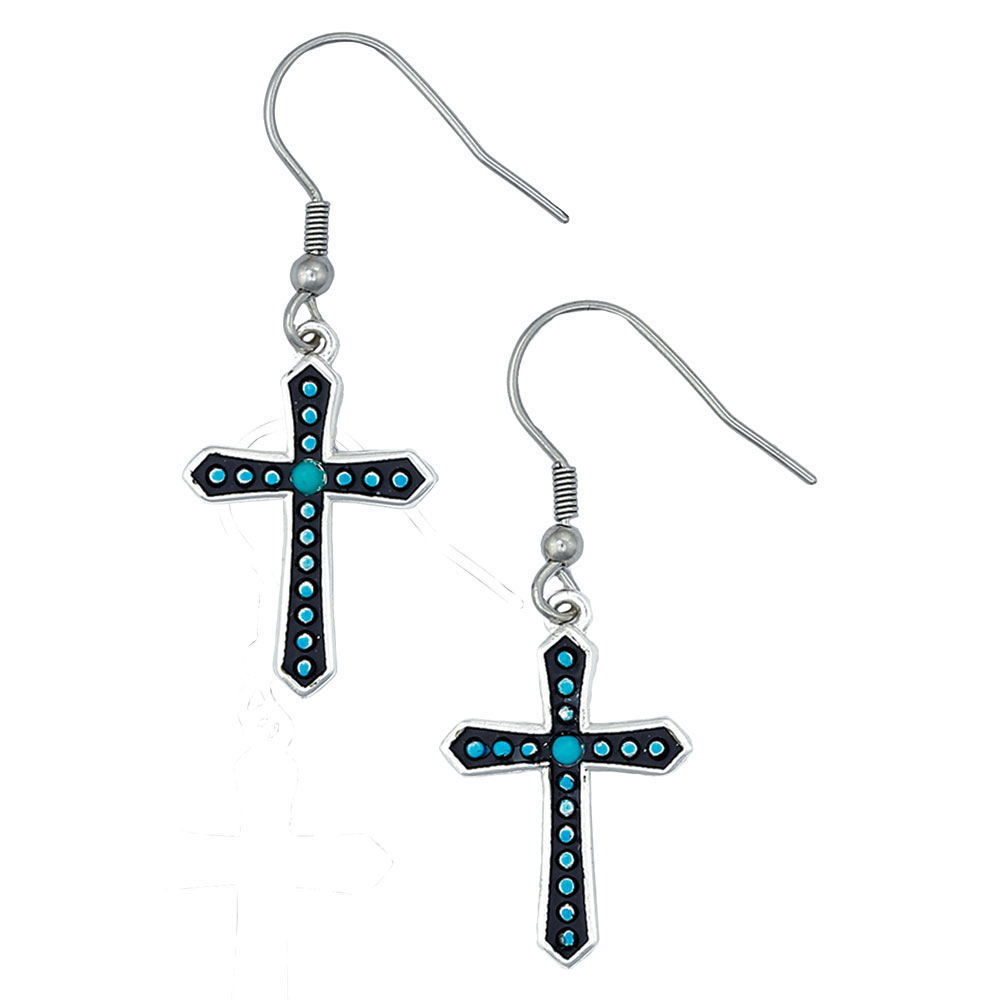 Turquoise Dotted Silver Cross Earrings