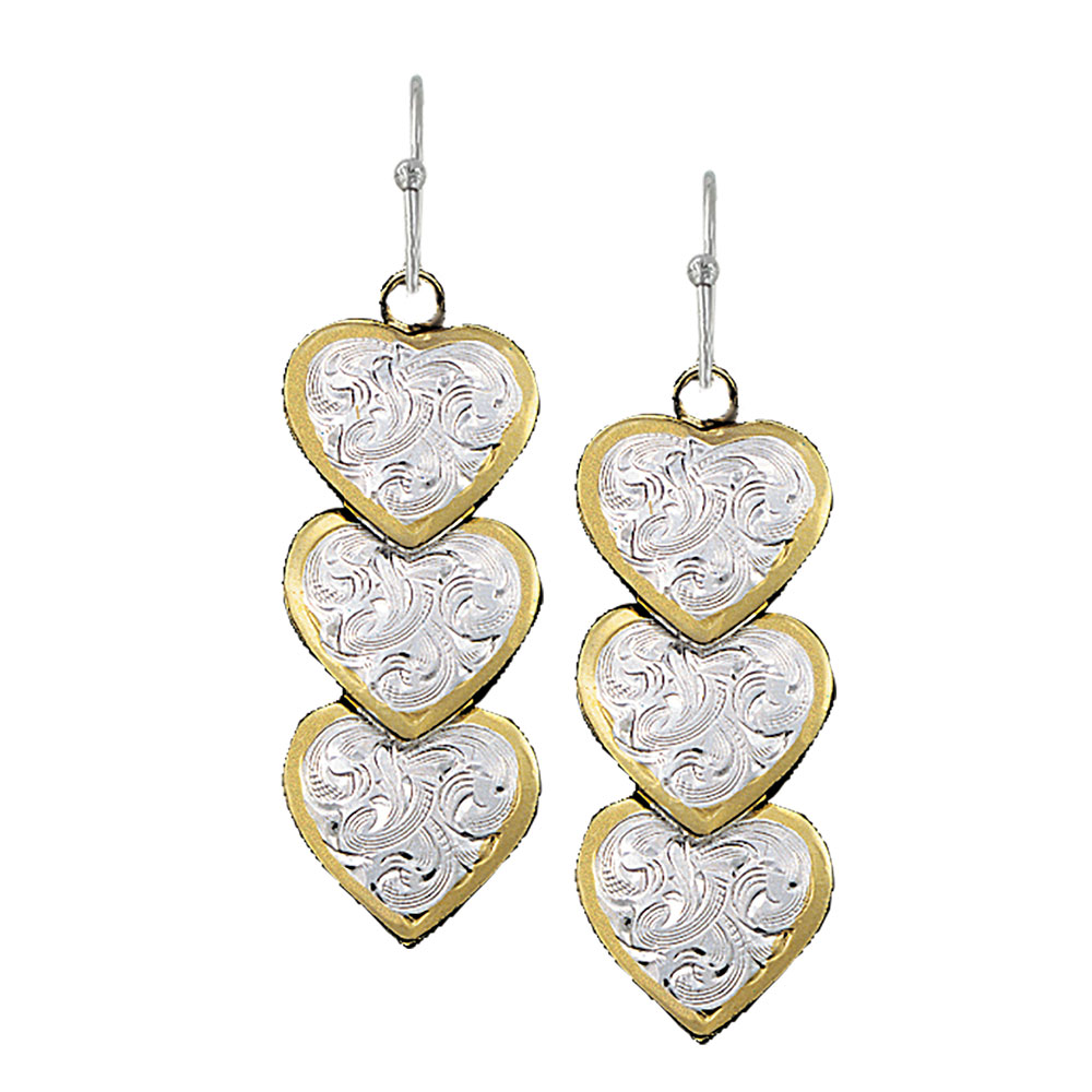 Triple Hearts of Silver and Gold Dangle Earrings