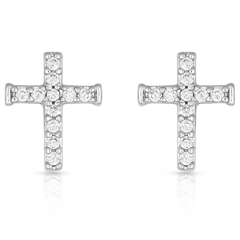 Quiet Faith, Tiny Crystal Cross Earrings