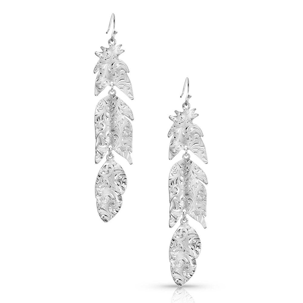 Silver Mystery Feather Earrings