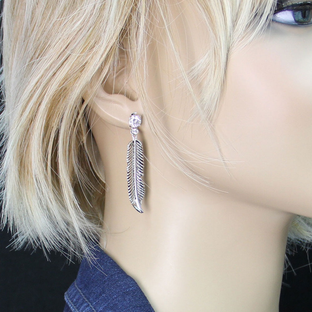 Antiqued Silver Crow Feathers on Crystal Stud Earrings