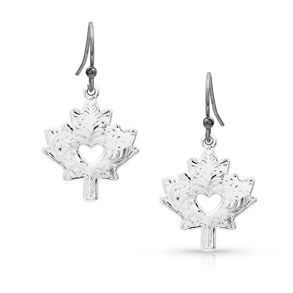 I Heart Canada Maple Leaf Charm Earrings