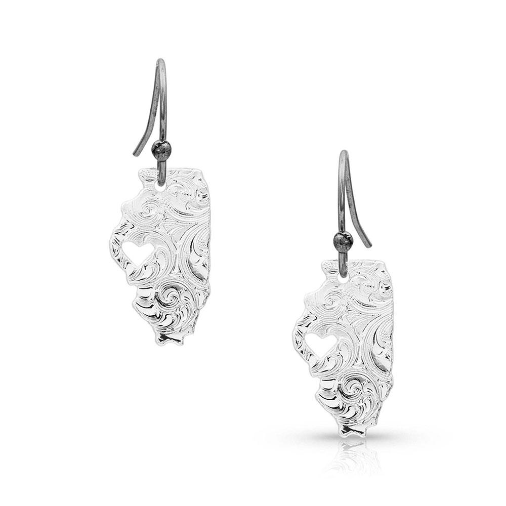 I Heart Illinois State Charm Earrings